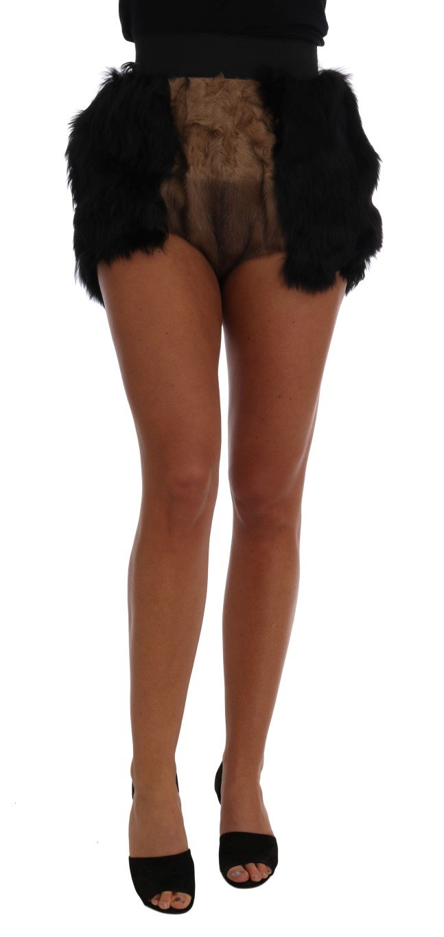 Dolce & Gabbana Women's Mink Nutria Fur Mini Trouser Black SKI1096 - IT40|S