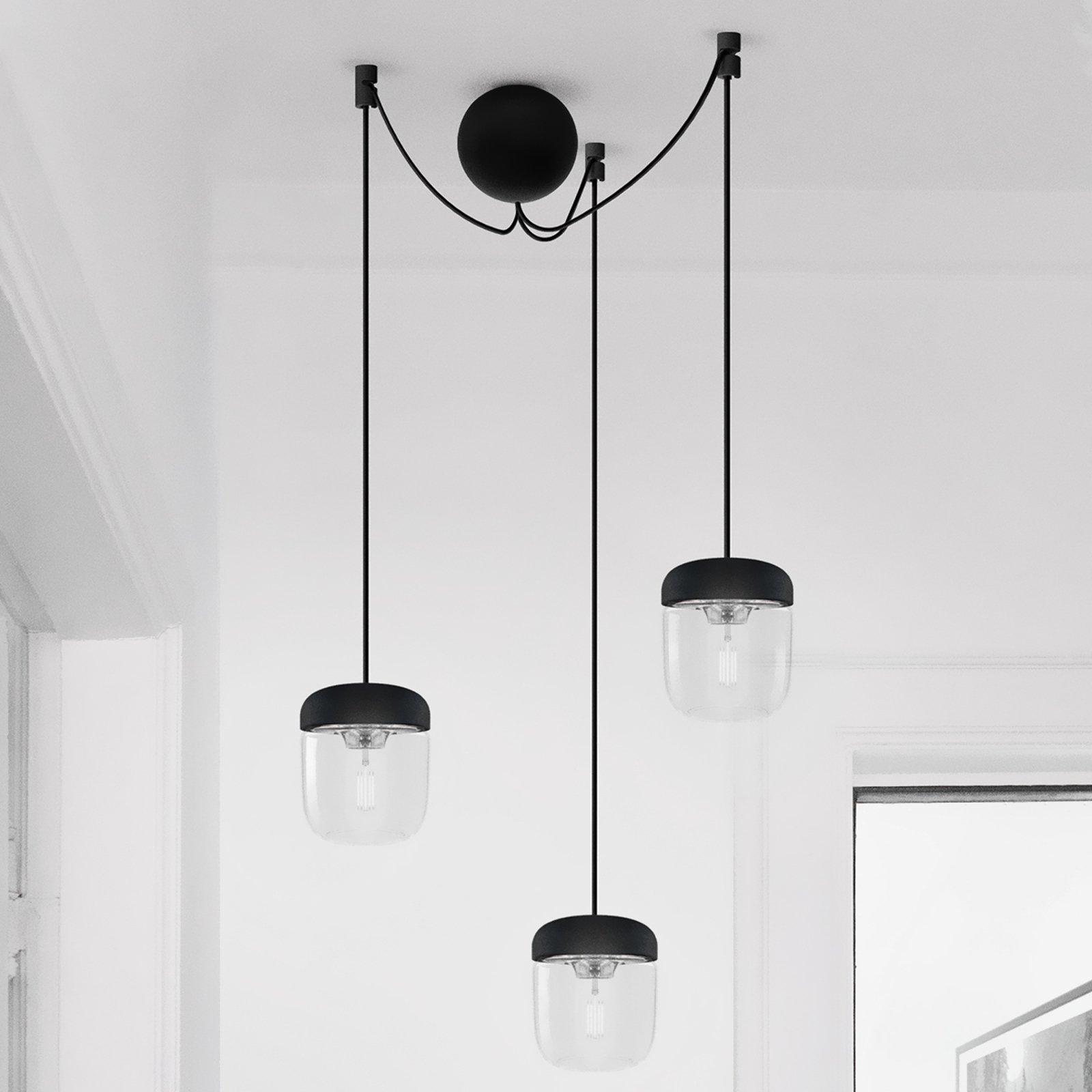 Pendellampe Acorn, svart og stål, 3 lyskilder