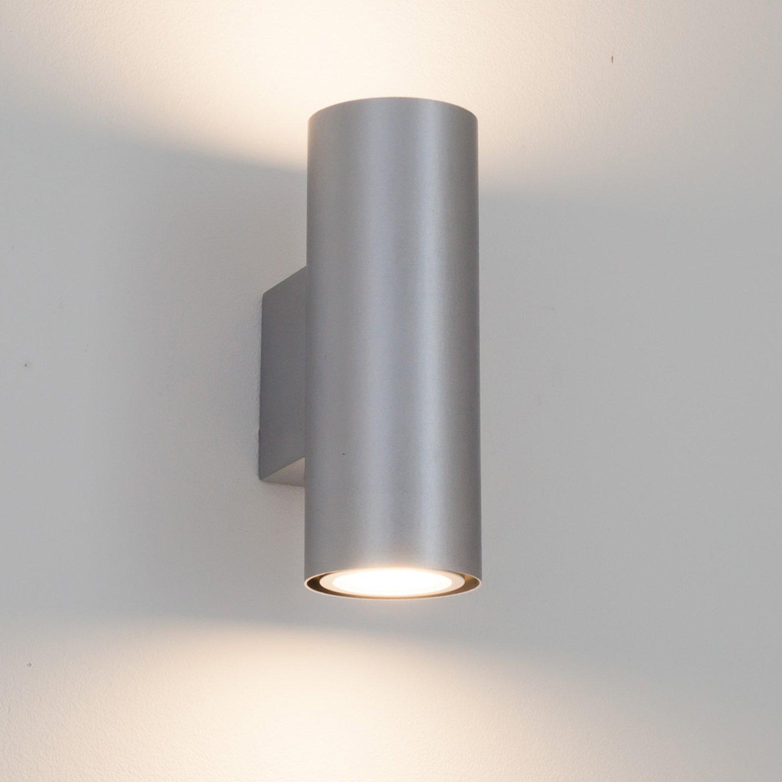 Sølvfarget LED-vegglampe Kabir, 2 lys