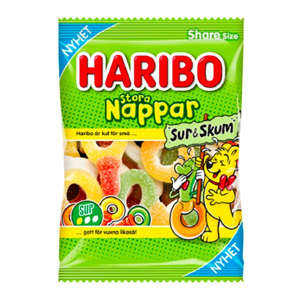 Haribo Stora Sura Nappar - 1-pack