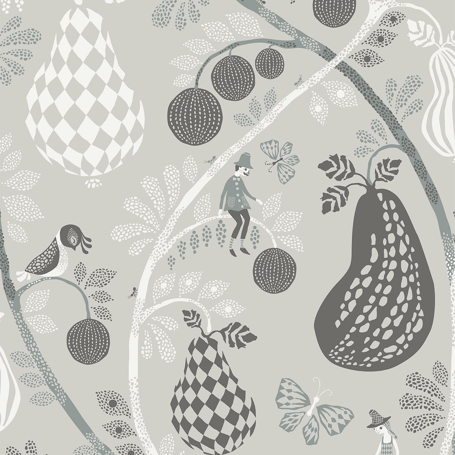 Tapet Fruit Garden - Mid grey, Littlephant