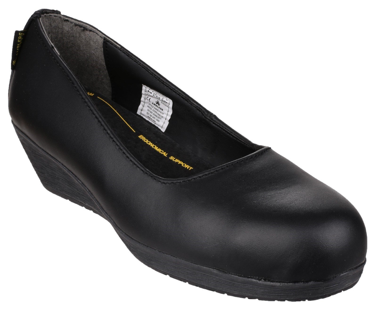 Amblers Women's Safety Antibacterial Memory Foam Slip on Shoe Black 21555 - Black 3