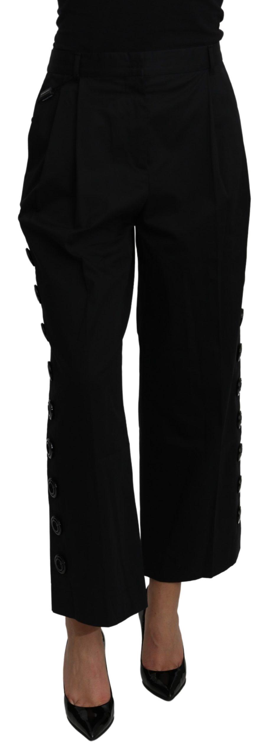 Dolce & Gabbana Women's High Waist Cotton Stretch Trouser Black PAN71215 - IT40|S