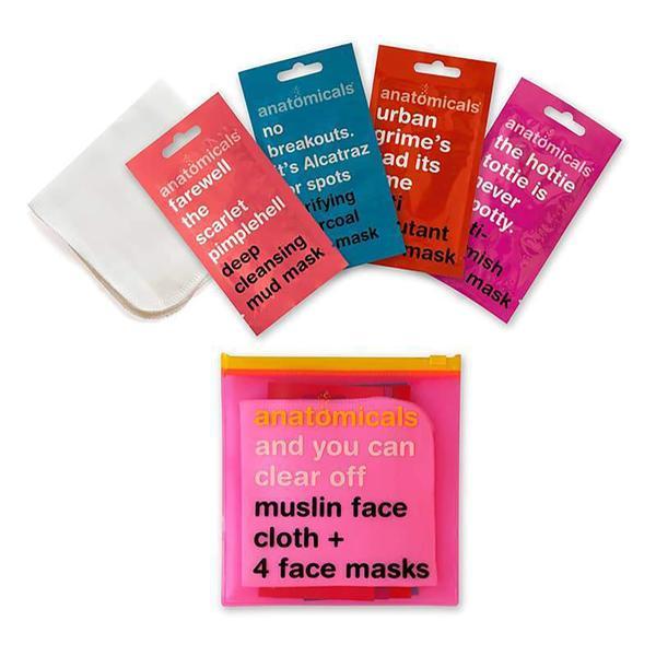 Clear Off Face Masks & Muslin Cloth Bag