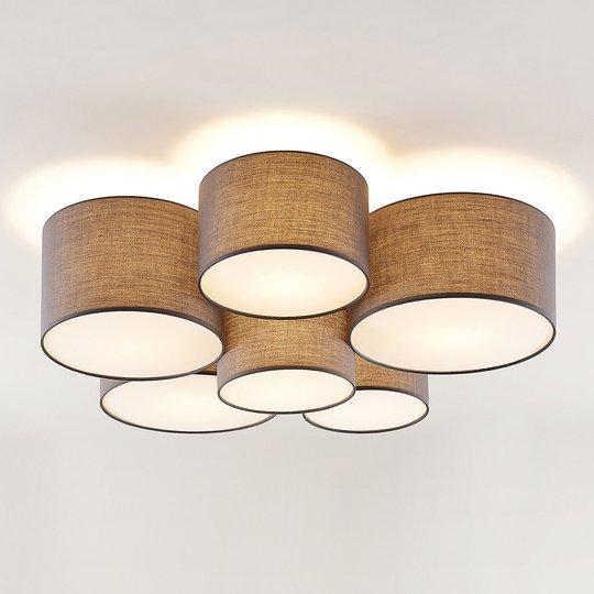 Lindby Laurenz taklampe, 6 lyskilder, grå