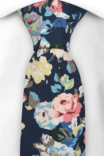 Bomull Slips, Rosa, blå & gule blomster & blader på blå base, Notch GUY