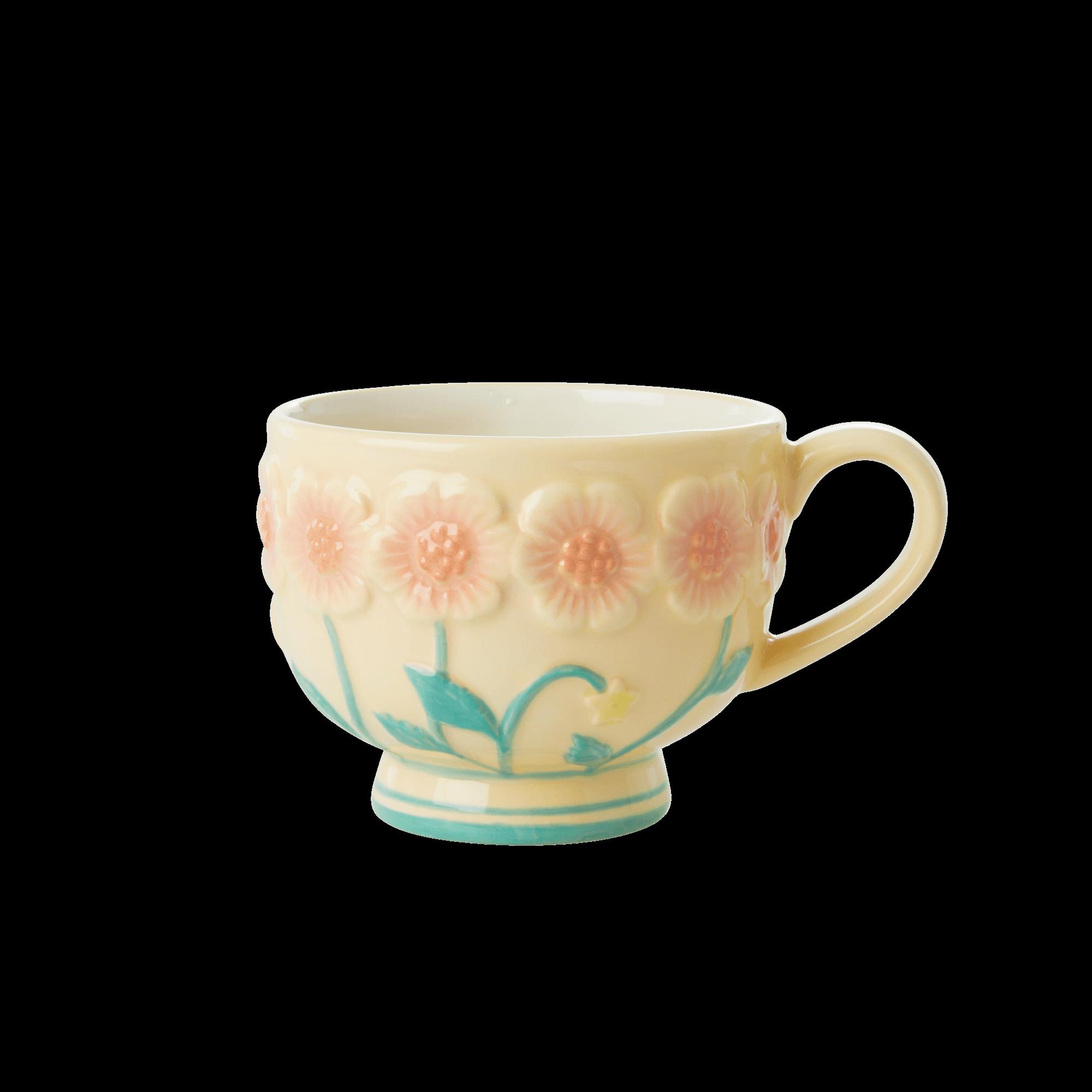 Rice - Ceramic Mug -Embossed Creme Flower Design