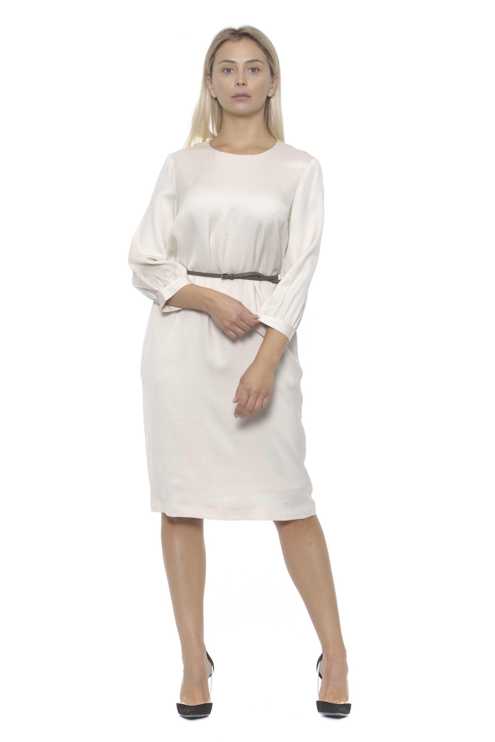 Peserico Women's Bianco Dress Beige PE1383158 - IT42   S