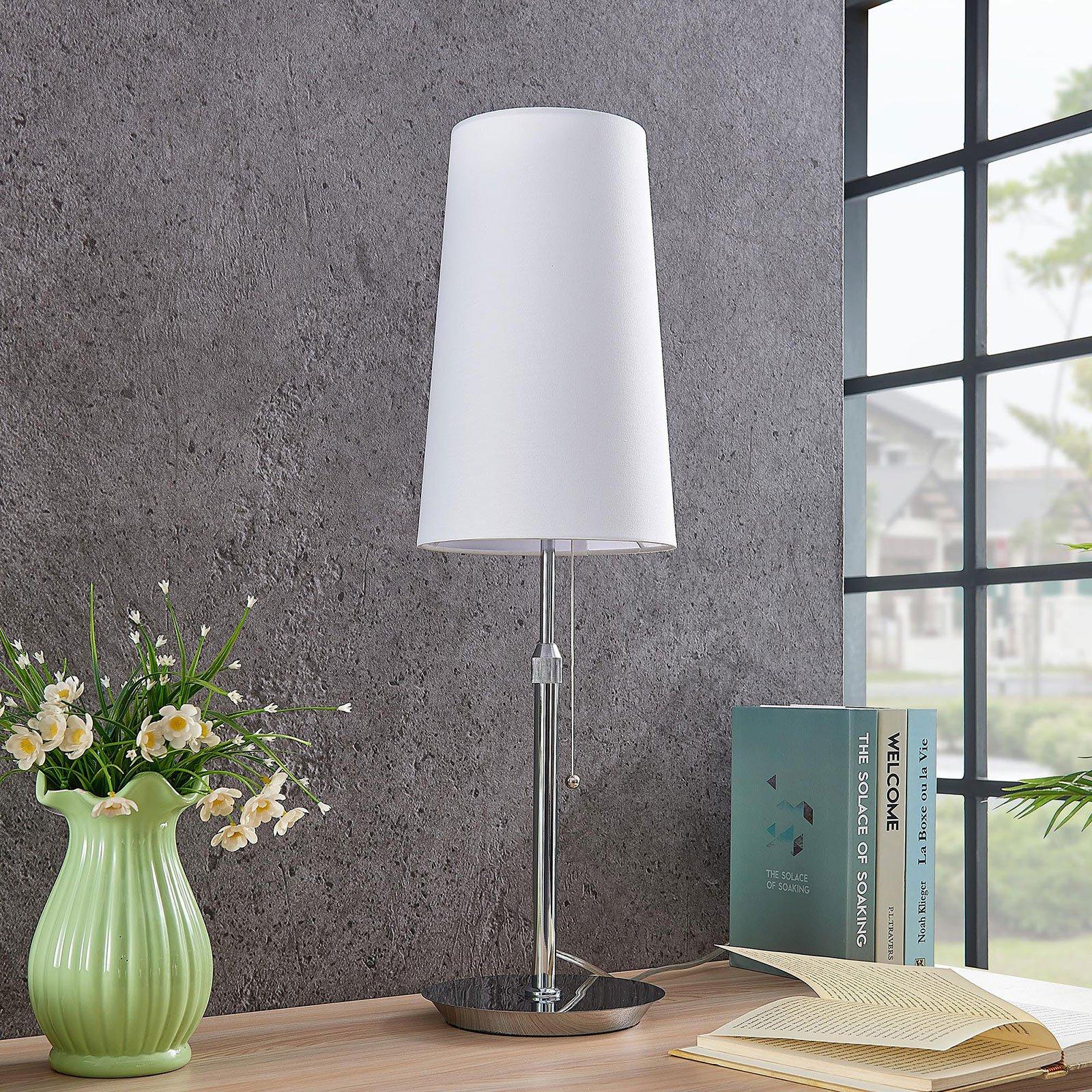 Lucande Pordis bordlampe, krom-hvit
