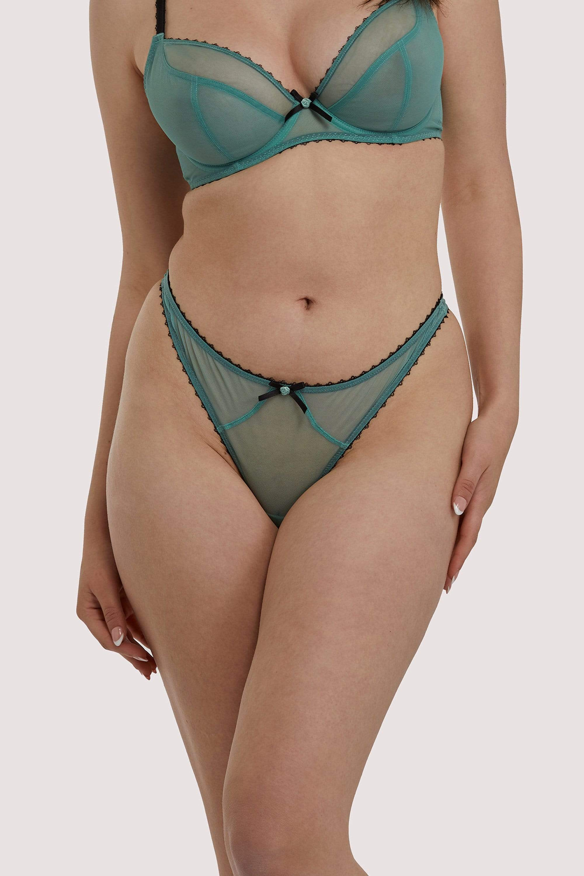 Deja Day Grace Green Moss and Black Thong UK 10 / US 6