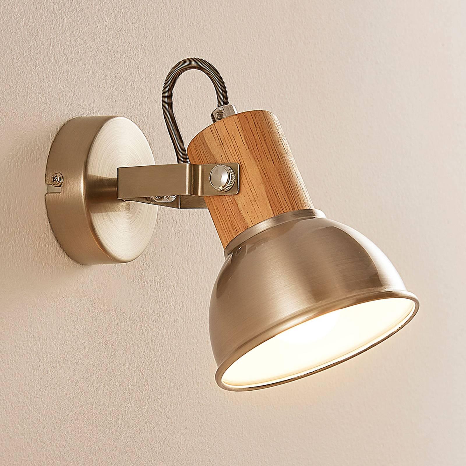 LED-seinä- ja -kattospotti Dennis, puukoristeita