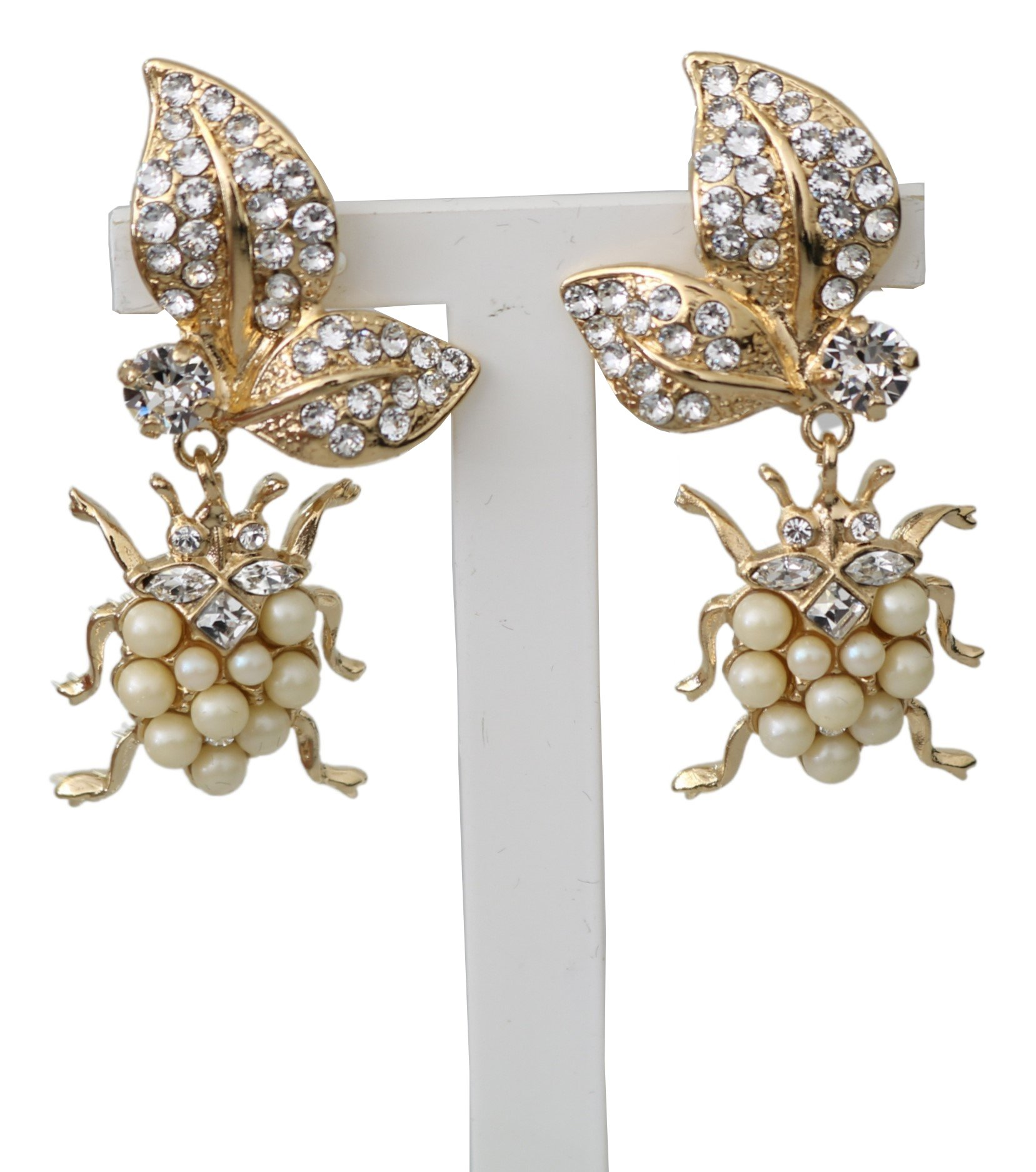 Dolce & Gabbana Women's Brass Clear Floral Clip On Earrings Gold SMY100201
