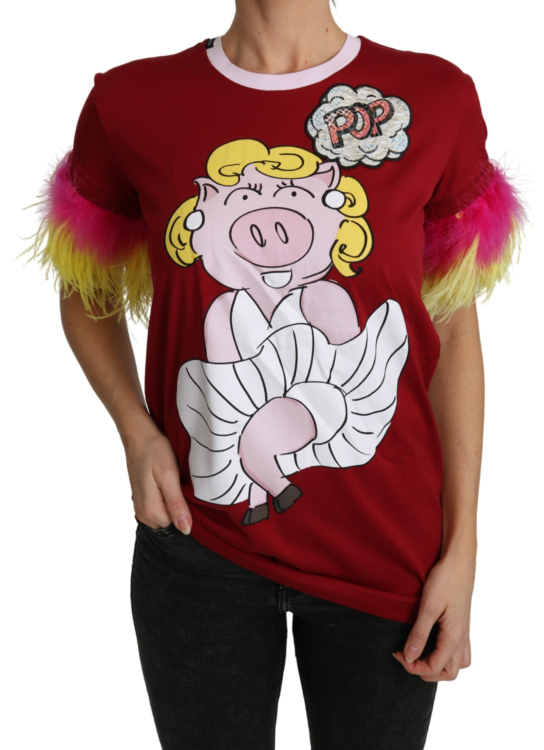 Dolce & Gabbana Women's Pig Print Feather Sleeves T-Shirt Red TSH4846 - IT36   XS