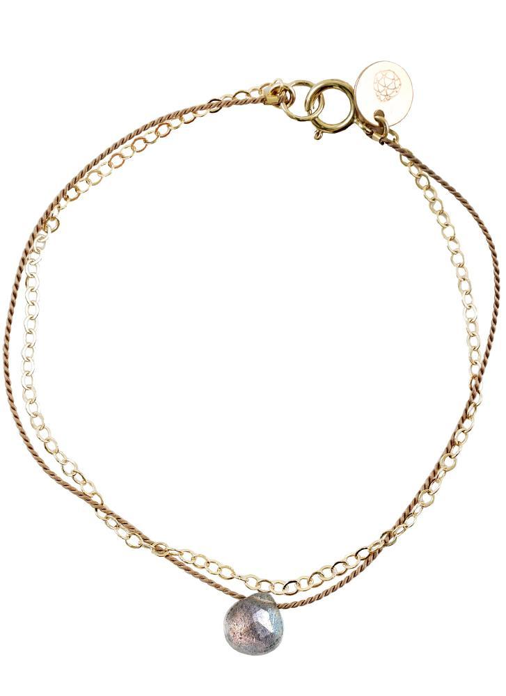 Wanderlust Life Gold & Silk Iridescent Labradorite Medium Bracelet