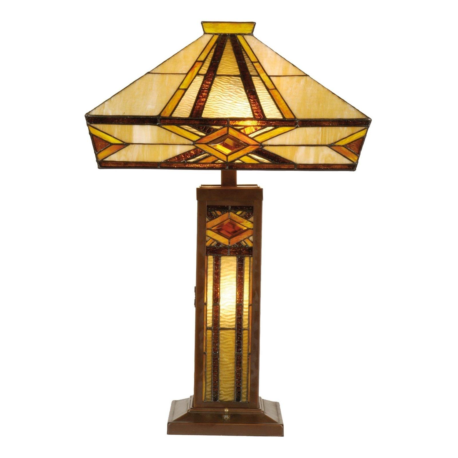 Bordlampe Glenys med kraftig lys, Tiffany-stil