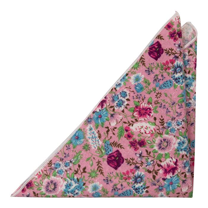 Bomull Lommetørkler, Rosa, blå, lilla & grønne blomster på rosa