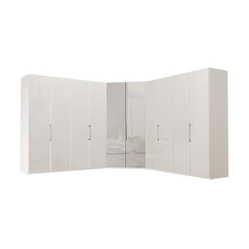 Garderobe Atlanta - Hvit 200 + walk-in + 200, 236 cm, Hvitt glass