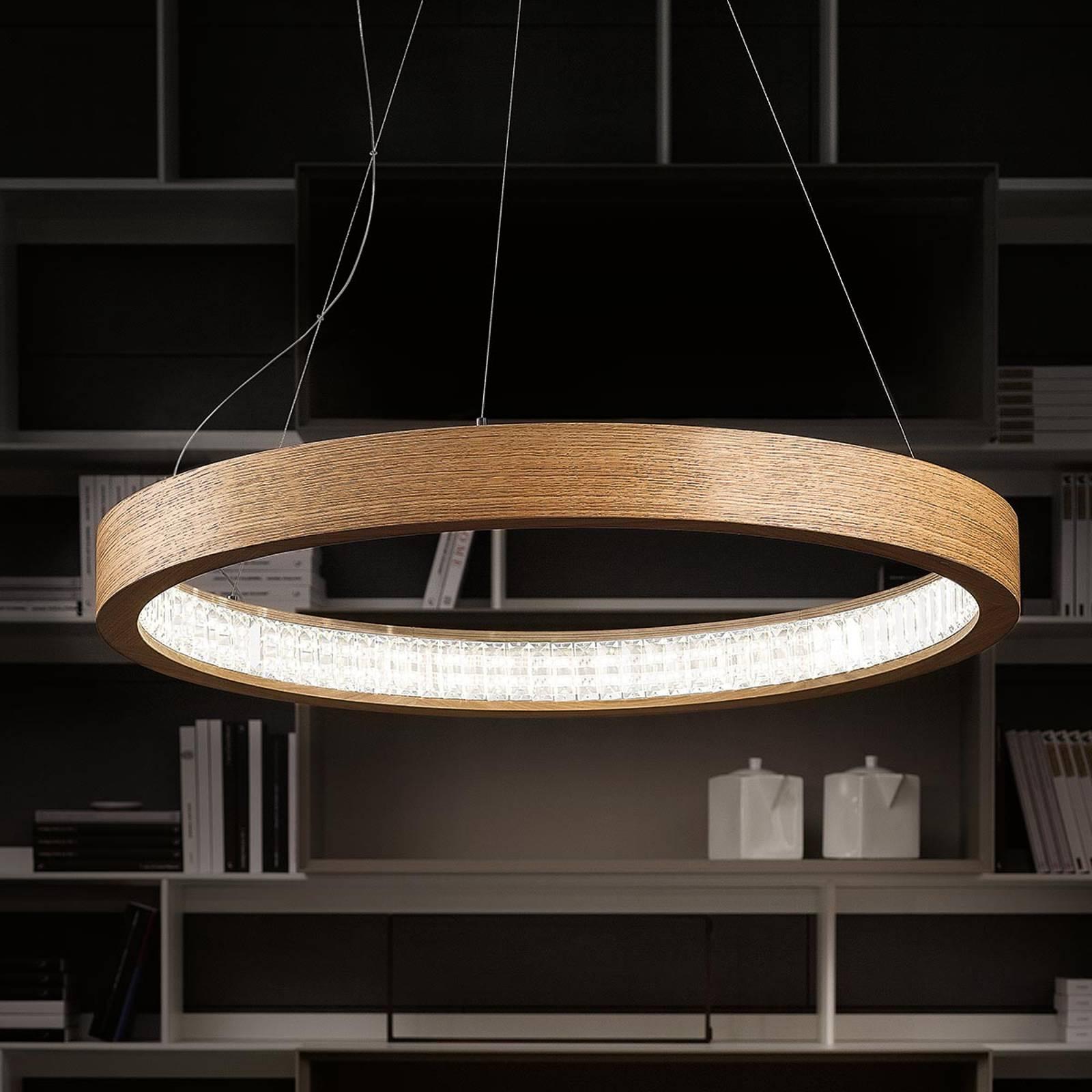 Luonnollinen LED-riippuvalaisin Libe Round, 90 cm