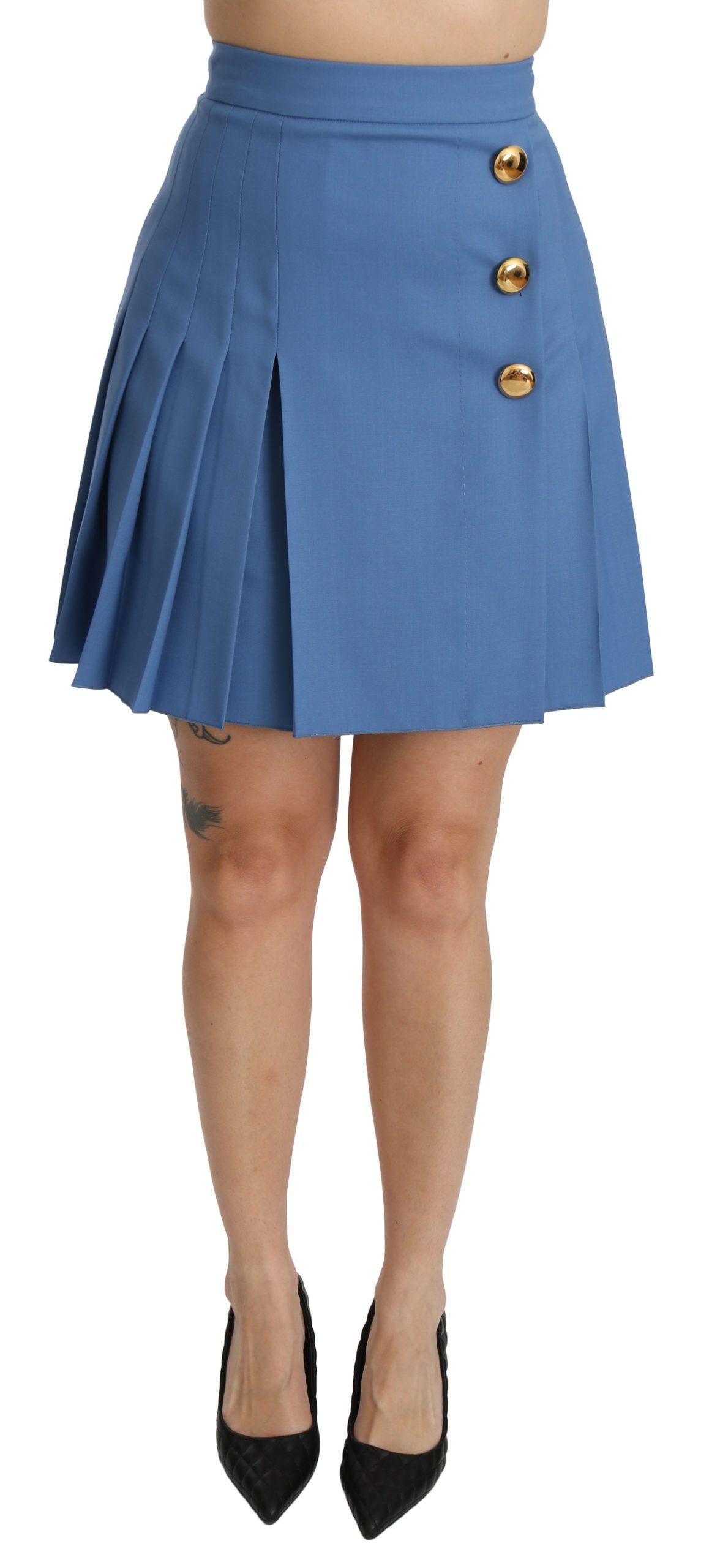 Dolce & Gabbana Women's Pleated High Waist Mini Wool Skirt Blue SKI1366 - IT36 | XS