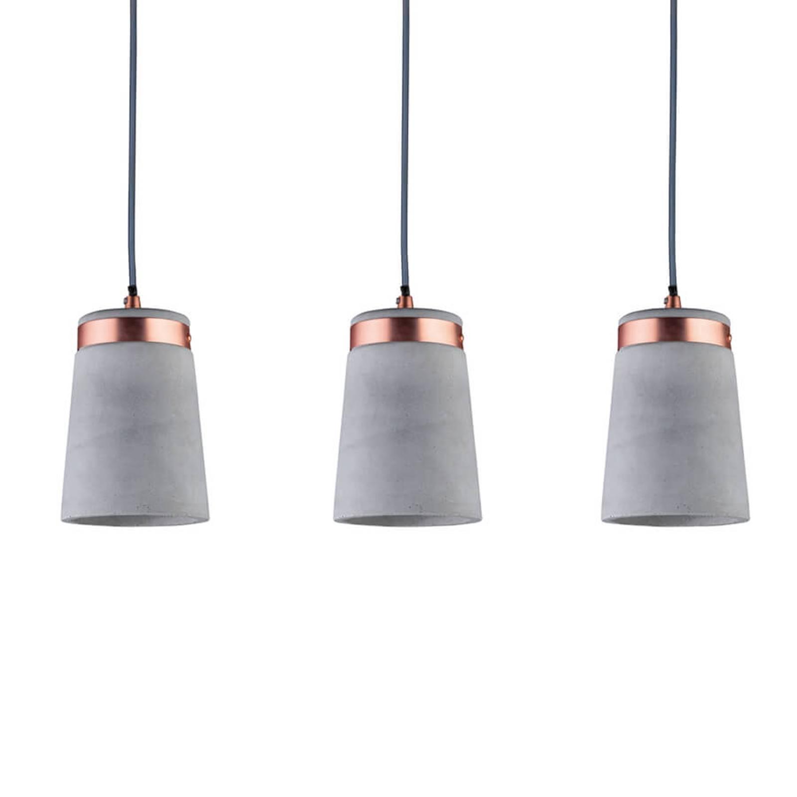 3-lamppuinen Stig-riippuvalaisin betonikuvuilla