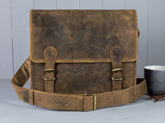 Boys And Girls Small Leather Satchel 13 Inch Brown 13 Inch