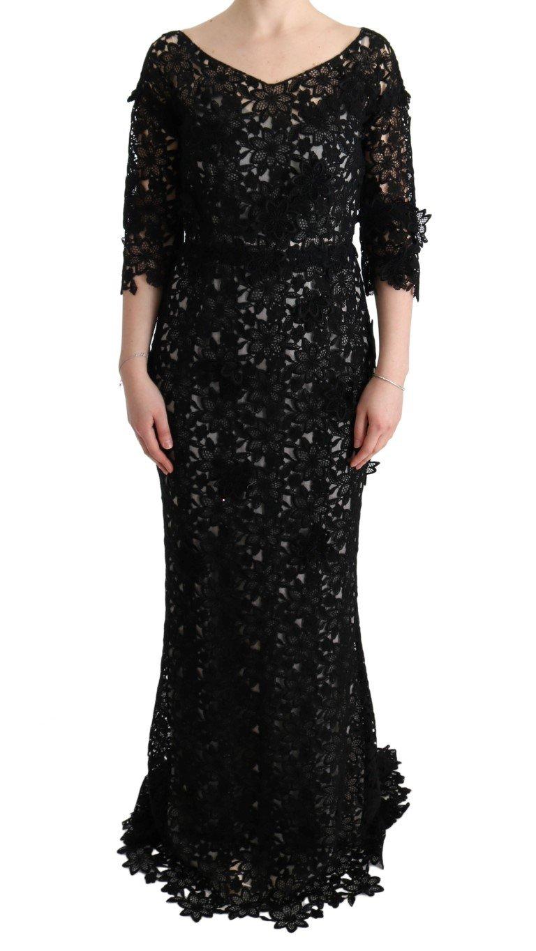 Dolce & Gabbana Women's Cotton Silk Floral Long Dress Black SIG60574 - IT38|XS