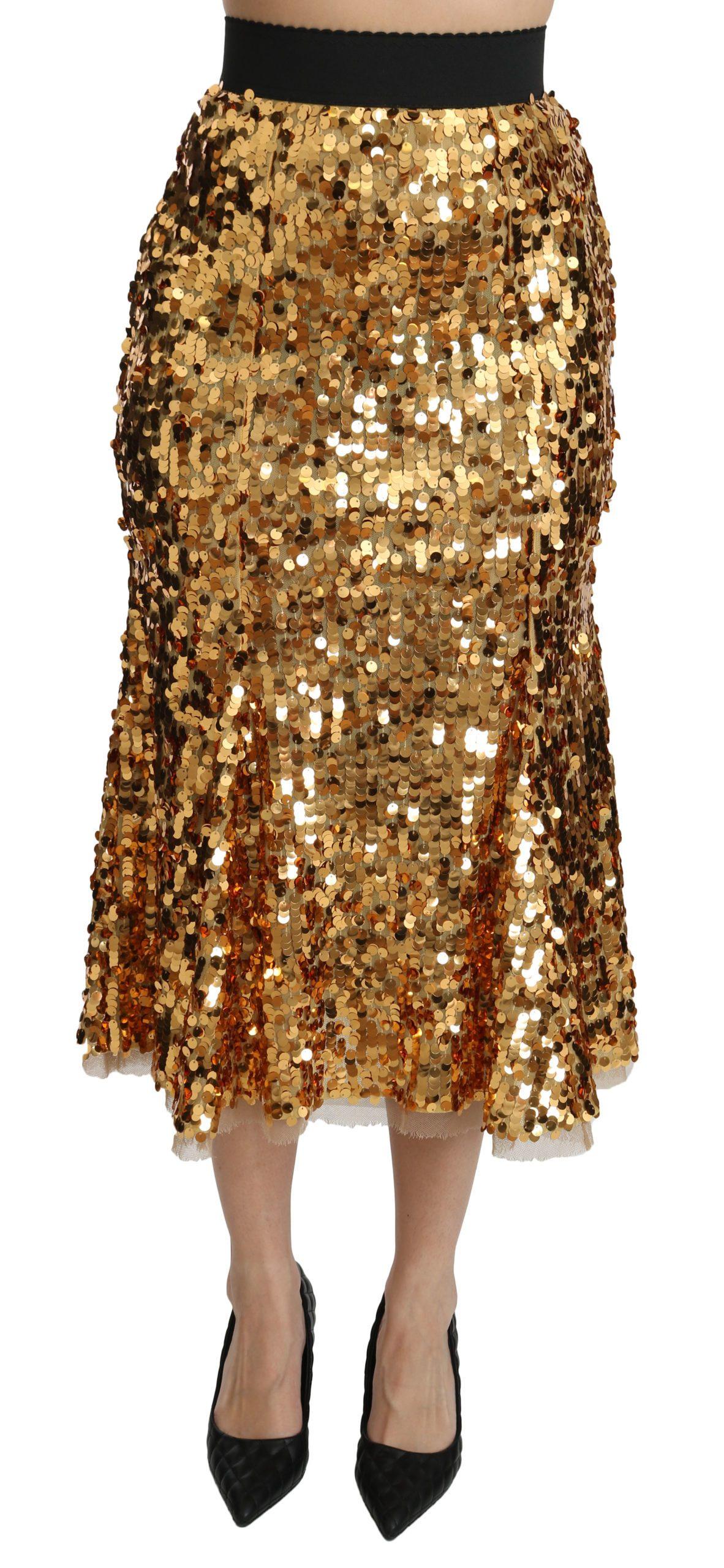 Dolce & Gabbana Women's Sequined Shiny High Waist Midi Skirt Gold SKI1370 - IT40|S