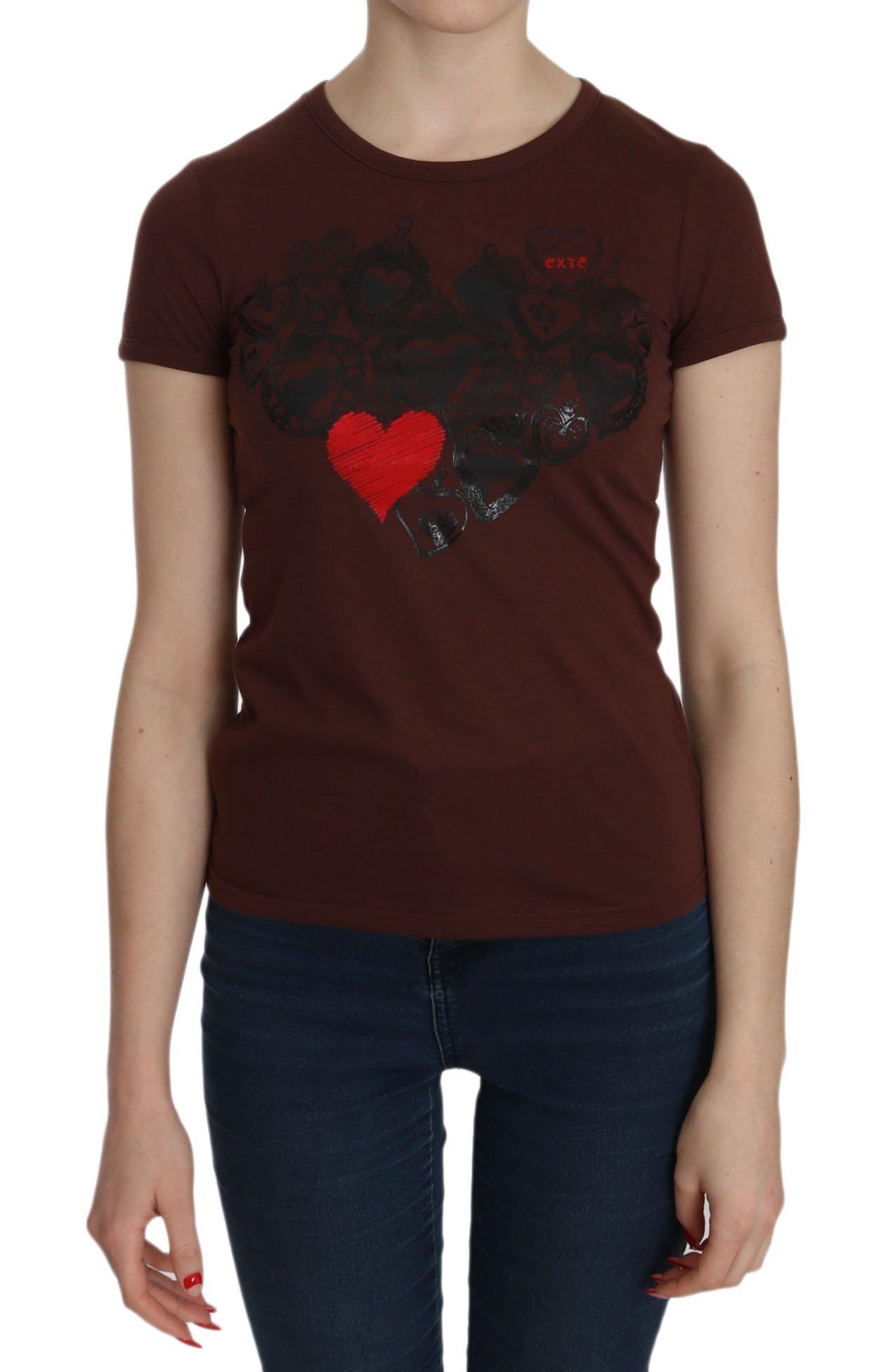 Exte Women's Heart Print Crew Neck T-shirt SS Top Brown TSH3716 - IT42 M