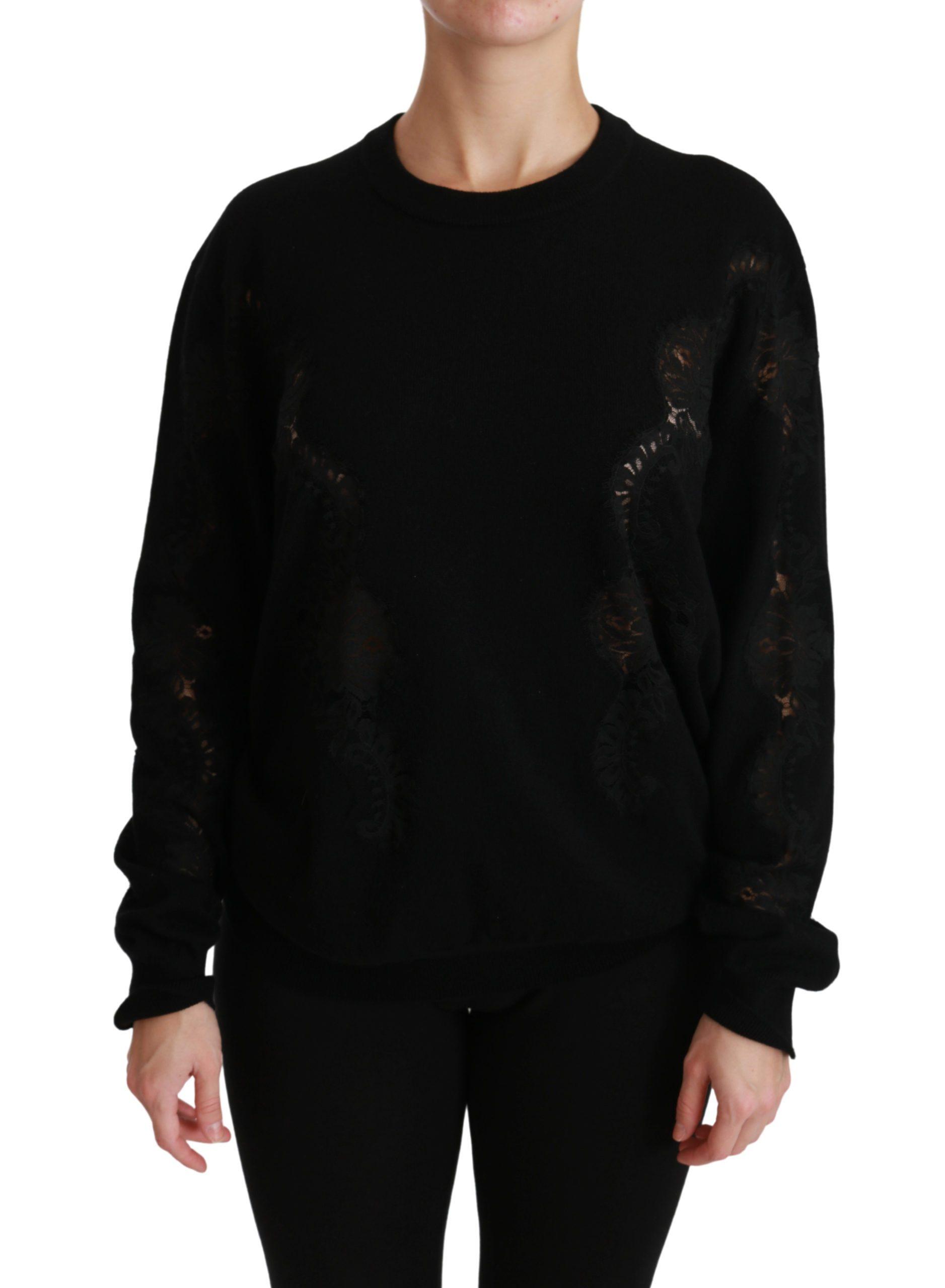 Dolce & Gabbana Women's Cashmere Floral Lace Sweater Black TSH4421-46 - IT46|XL