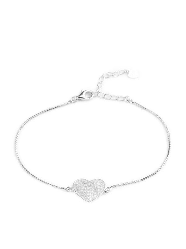 Klockiasmycket Silver Armband Sparkling Heart BYL0018
