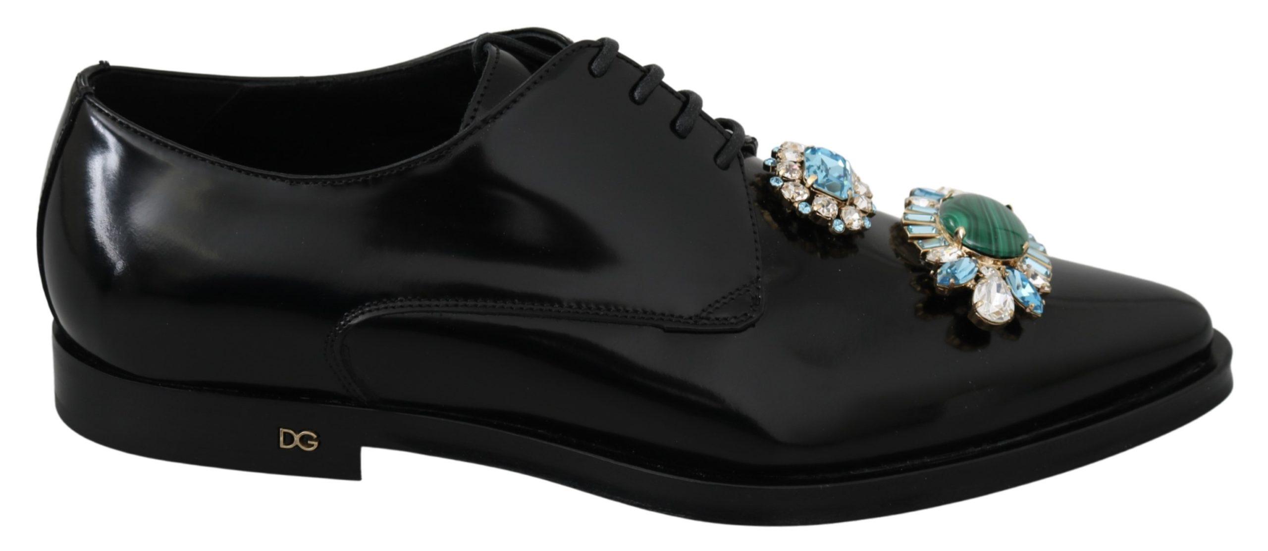 Dolce & Gabbana Women's Leather Crystal Dress Formal Shoes Black LA6804 - EU39/US8.5