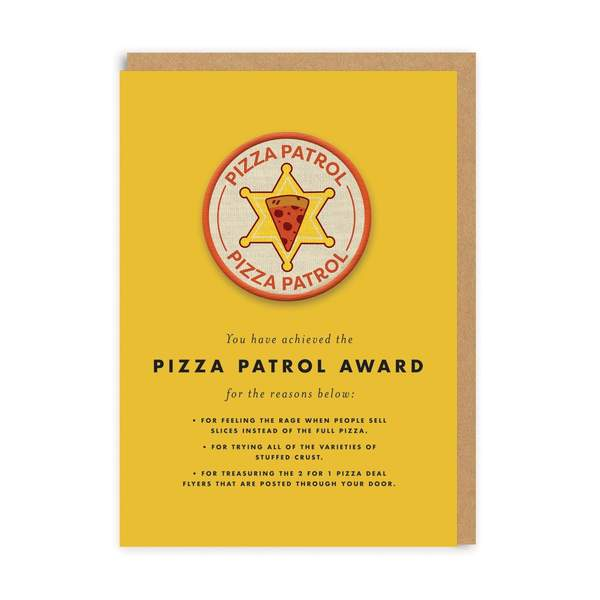 Pizza Patrol Woven Patch Greeting Card
