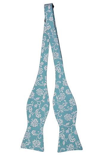 Silke Sløyfer Uknyttede, Cyan blå, gulhvit fiskebeinmønstrete blomster