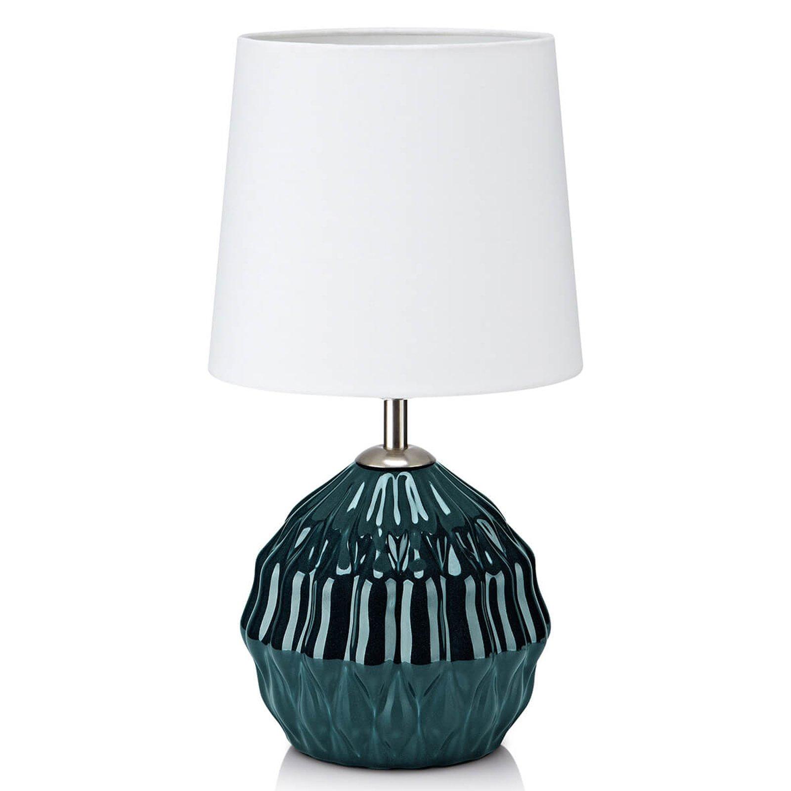 Med grønn keramikkfot - bordlampe Lora i tekstil