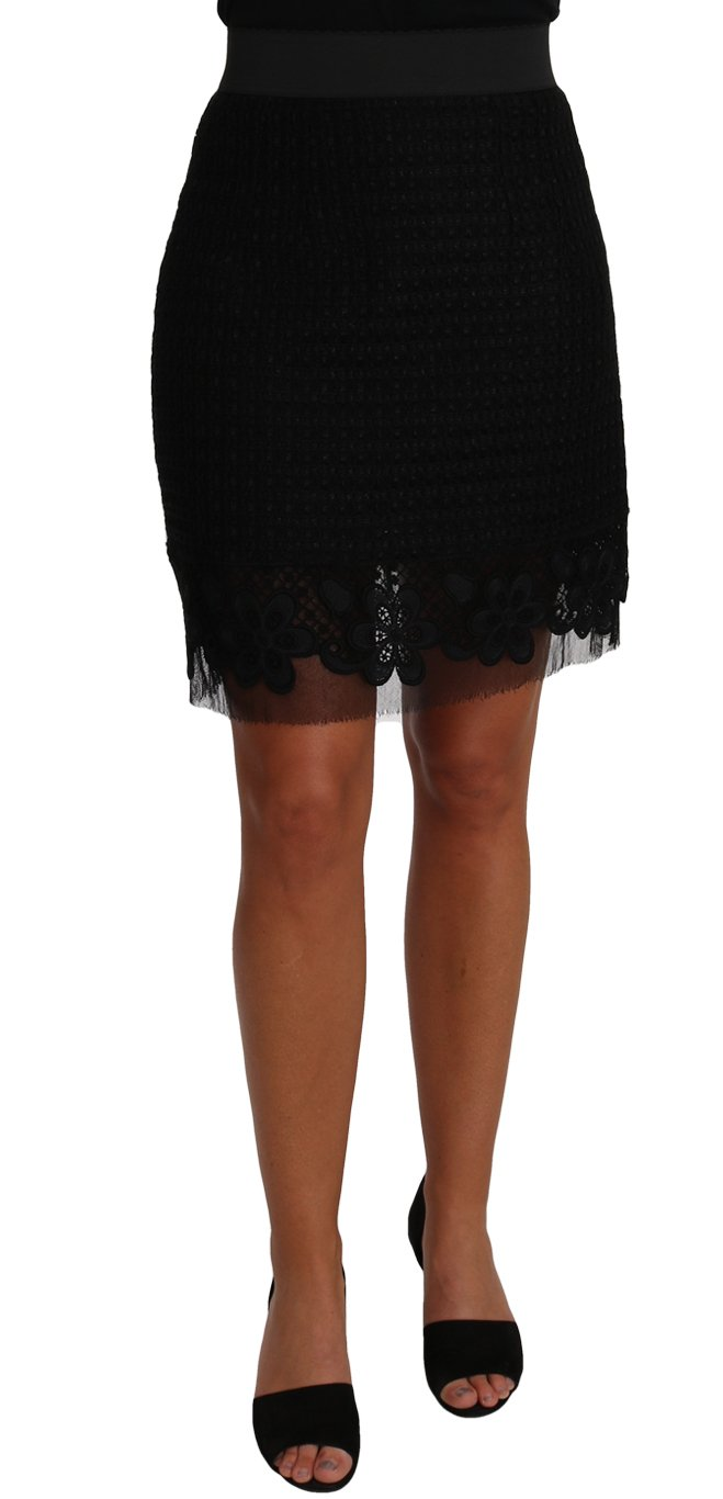 Dolce & Gabbana Women's Floral Taormina Lace Wool Skirt Black PAN61103 - IT40|S
