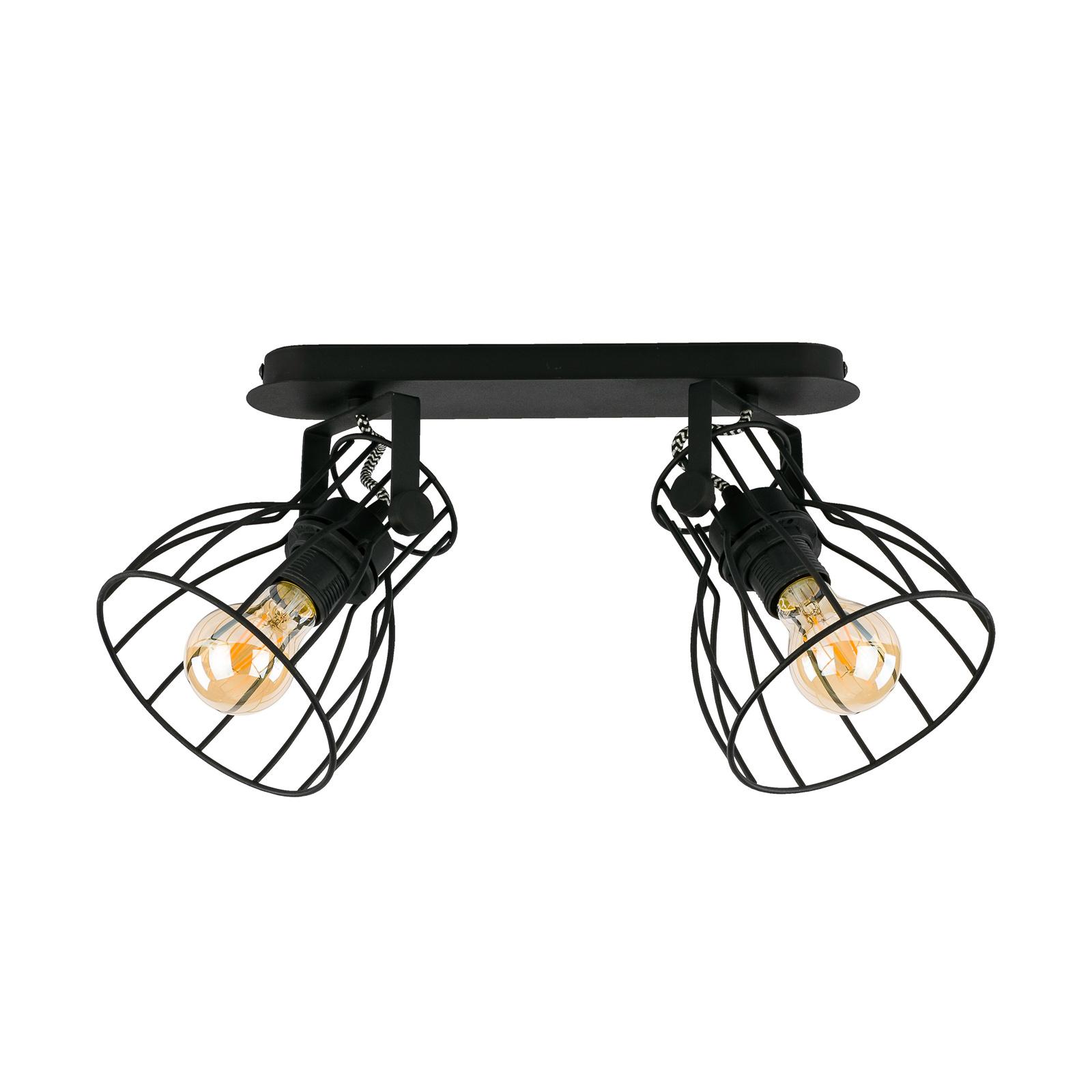 Kattovalaisin Alano, musta, 2-lamppuinen