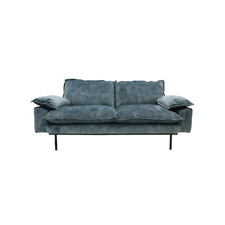 Retro Sofa Fløyel 2-seter Blå