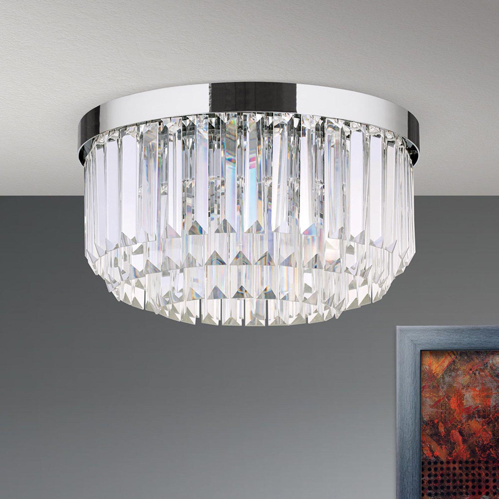 LED-taklampe Prism, krom, Ø 35 cm