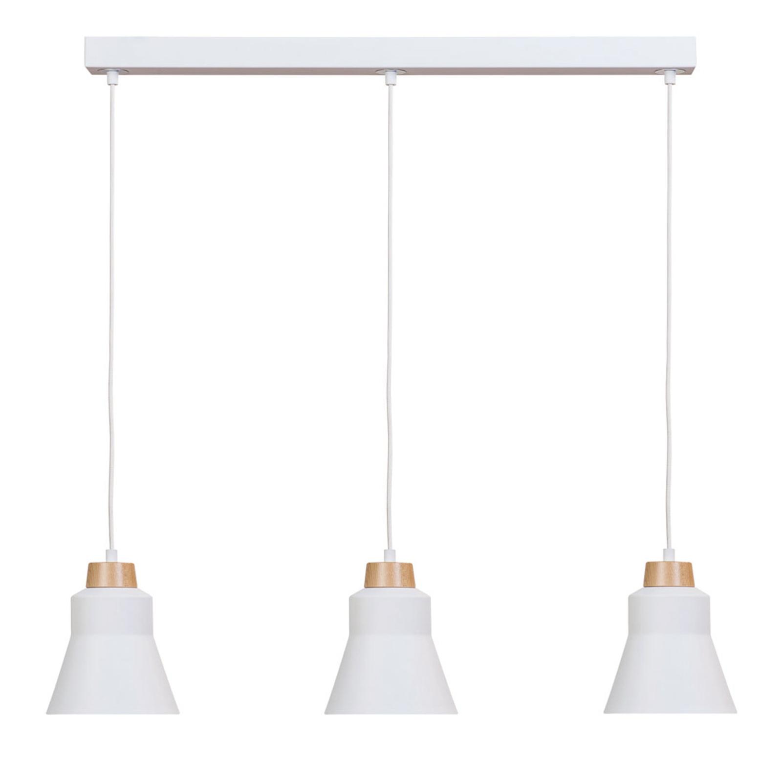 Riippuvalo Wood, 3-lamppuinen, valkoinen