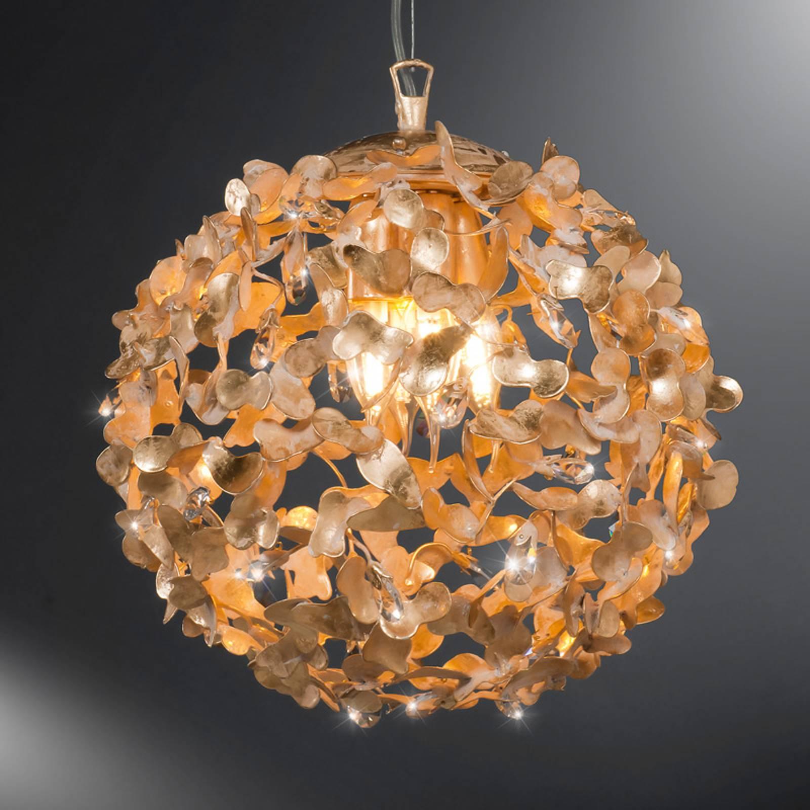 Pallonmuotoinen riippuvalaisin Oro kristalleilla