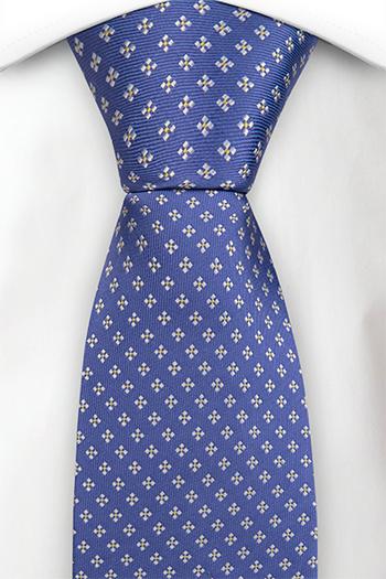Silke Slips, Blå kyper med firkantete hvite blomster, Blå, Småmønstret