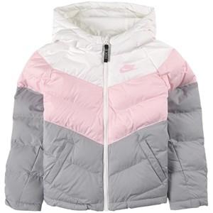 NIKE Pink, White Chevron Swoosh Logo Vadderad Jacka Grå S (8-10 years)
