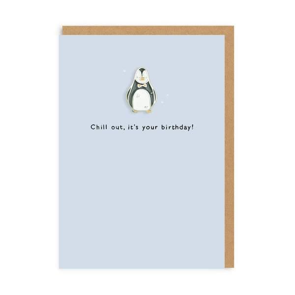 Penguin Enamel Pin Greeting Card