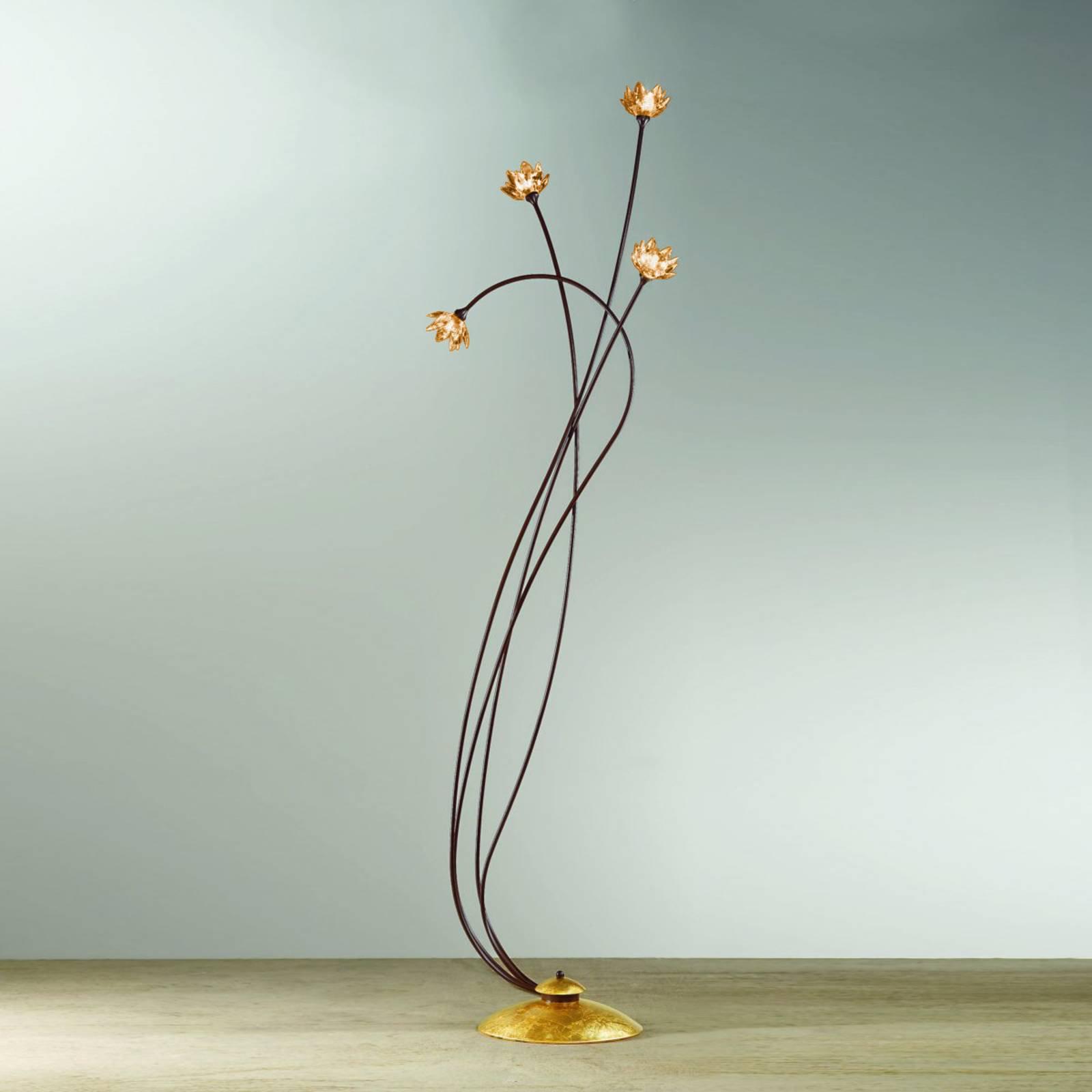 Ambrafarget Fiorella gulvlampe med krystaller