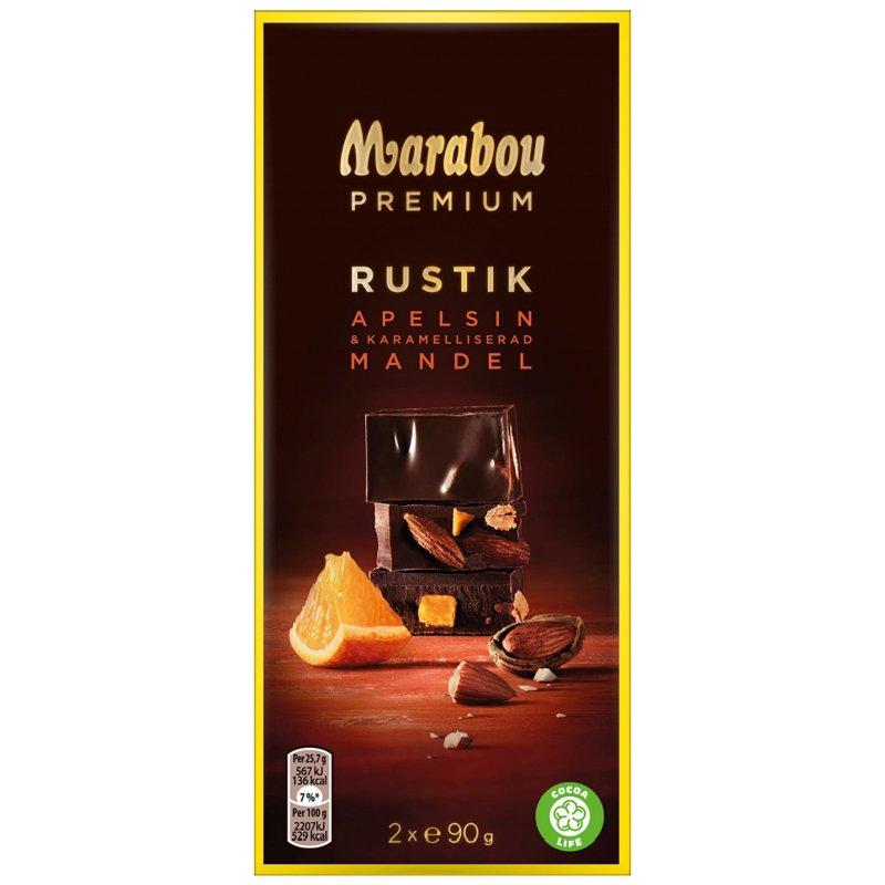 """Tumma Suklaa """"Appelsiini & Manteli"""" 2 x 90g - 25% alennus"""