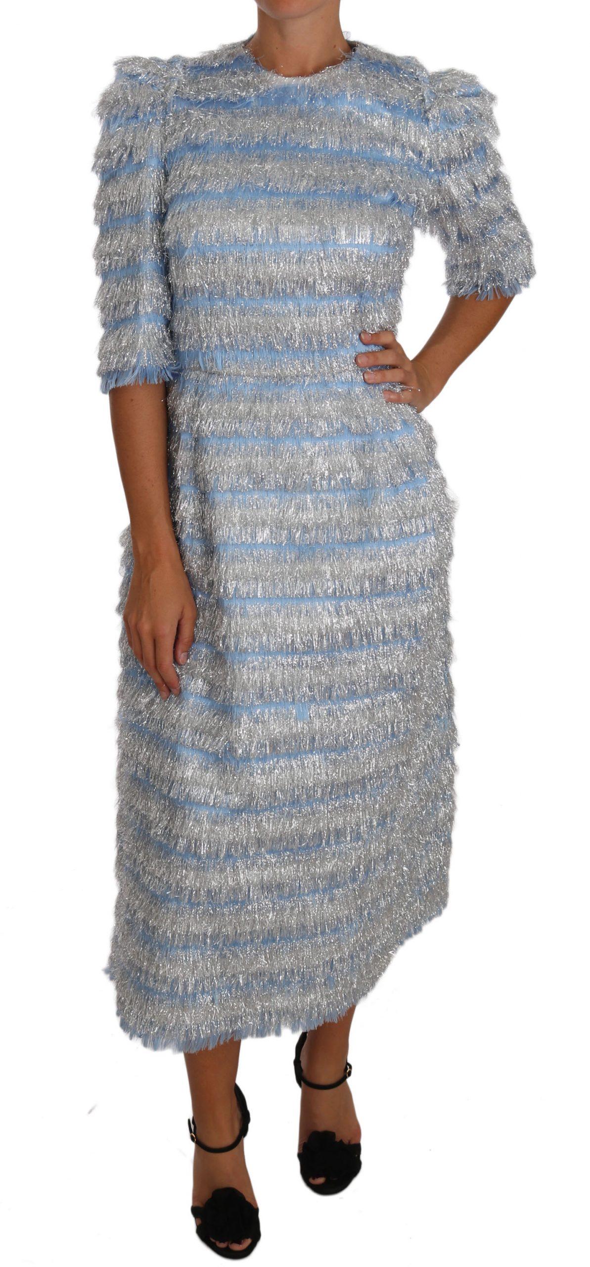 Dolce & Gabbana Women's Fringe Midi Sheath Dress Blue DR1464 - IT44|L