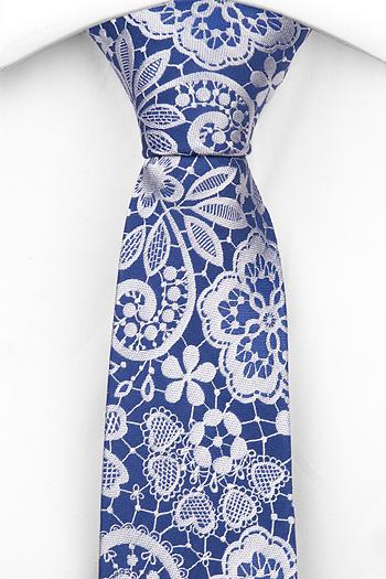 Silke Smale Slips, Stålblå botten med blommönster i vitt, Blå, Blomster og blad