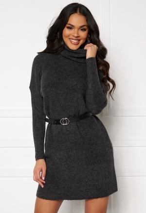 ONLY Jana L/S Cowlnck Dress Dark Grey Melange XS