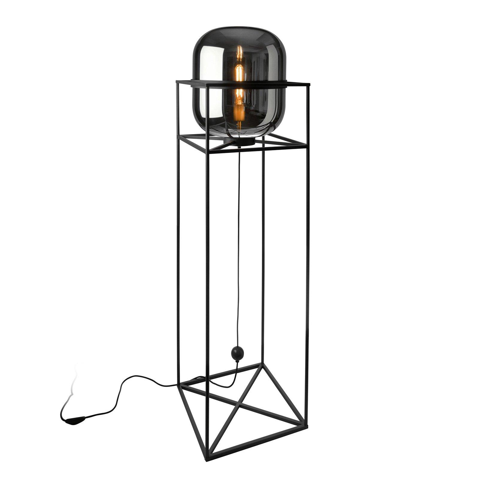 Gulvlampe Baloni, metallstamme og røykglass