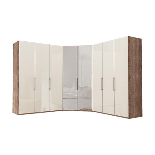 Garderobe Atlanta - Mørk rustikk eik 150 + walk-in + 150, 216 cm